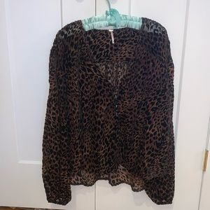 Free People Animal Print Blouse